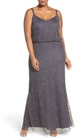 Adrianna Papell Plus Size Women's Beaded Blouson Gown