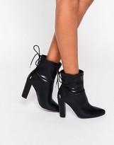 Truffle Collection Heeled Ankle Boot With Tie Back