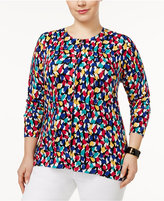 August Silk Plus Size Printed Cardigan