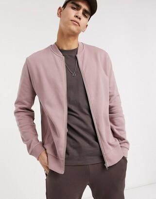 ASOS DESIGN jersey bomber jacket in mauve