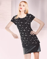 Phoebe by Kay Unger Lace & Faux-Leather Combo Dress