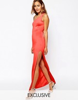 Oh My Love One Shoulder Maxi Dress With Thigh Split