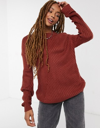 JDY oversized ribbed jumper with high neck in brown