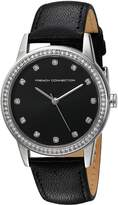 French Connection Women's 'Liberty' Quartz Metal and Leather Automatic Watch, Color: (Model: FC1251BA)