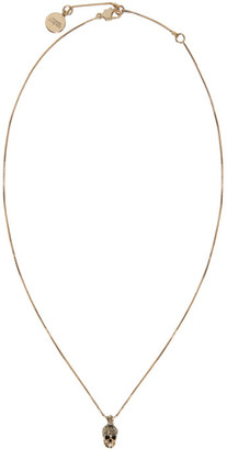 Alexander McQueen Gold Pave Skull Necklace