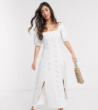 ASOS DESIGN Petite square neck broderie prairie maxi dress in white