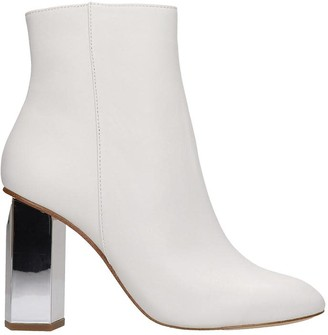Michael Kors Petra High Heels Ankle Boots In White Leather