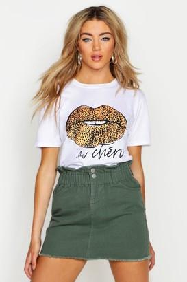 boohoo Leopard French Slogan Lips T-Shirt