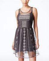 Jessica Simpson Juniors' Hazel Sheer Embellished A-Line Dress