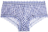 Hanky Panky Check Please Gingham Stretch-lace Briefs - Blue