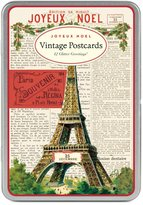 Cavallini & Co. Christmas Paris Glitter Greetings, 12 Assorted Glittered Postcards Per Tin