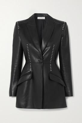 Alexander McQueen Embellished Leather Blazer - Black