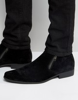 Asos Chelsea Boots In Black Suedette With Zips