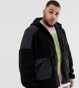 ASOS DESIGN Plus teddy zip through jacket with hood in black