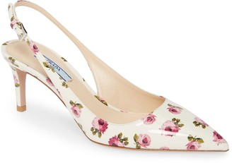 Prada Floral Pointed Toe Slingback Pump