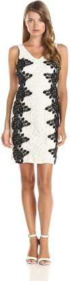 Minuet Women's Sleeveless Dress with Black Lace Detail