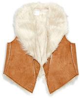 Kardashian Kids Baby Girls Faux Fur and Suede Vest