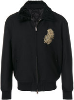 Alexander McQueen feather embroidered bomber jacket