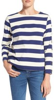 MiH Jeans Women's Stripe Button Sleeve Cotton Tee