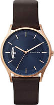 skagen SKW6395P Holst multifunction rose-gold plated and leather watch