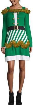 City Streets Long Sleeve Embellished Midi Drop Waist Dress-Juniors