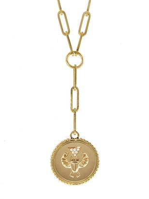 Foundrae Medium Protection Medallion On 20 Inch Clip Chain Necklace