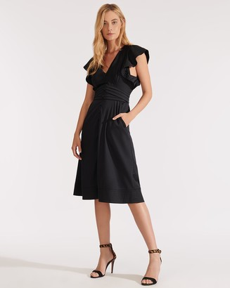 Veronica Beard Sada Ruffled-Sleeve Midi Dress