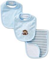 Little Me Baby Boys Monkey Star Bib & Striped Burp Cloth Set