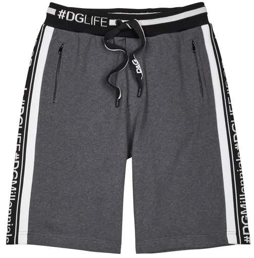 Dolce & Gabbana Grey Logo-intarsia Jersey Shorts