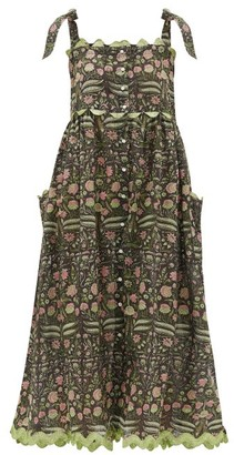 Juliet Dunn Tie-shoulder Floral-print Cotton Midi Dress - Green Multi