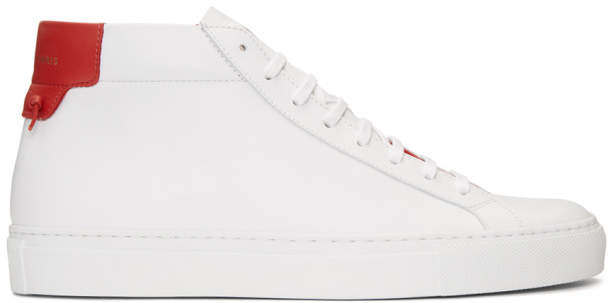 Givenchy White and Red Urban Knots Mid-Top Sneakers