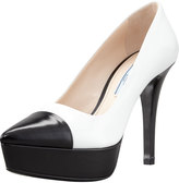 Prada Bi-Color Cap-Toe Platform Pump. White/Black