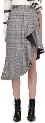 Self-Portrait Self Portrait Checkered Asymmetric Midi Skirt