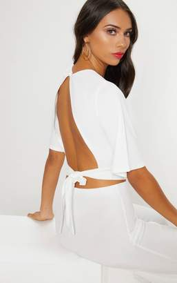PrettyLittleThing White Crepe Tie Back Crop Top