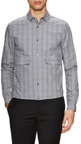 Valentino Plaid Print Zip Front Sportshirt