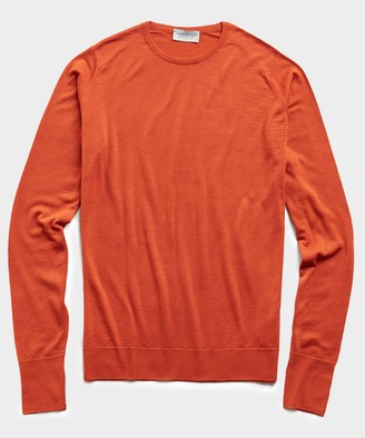 John Smedley Sweaters Easy Fit Crewneck Merino Sweater in Orange