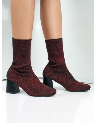 Nature Breeze Women's Stretchy Sock Knitting High Heel Bootie in Red