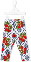 MonnaLisa strawberry print trousers - kids - Cotton/Spandex/Elastane - 6 mth