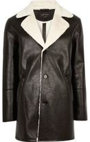 River Island Mens Black leather look shearling lined coat