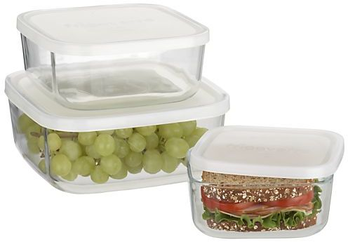 Crate & Barrel 3-Piece Glass Storage Container Set