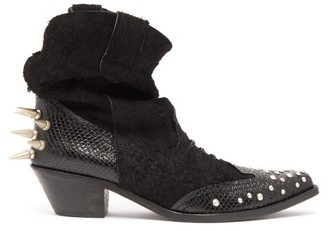 Junya Watanabe Studded Suede Western Ankle Boots - Black