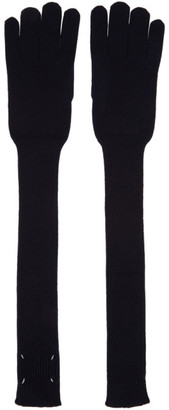 Maison Margiela Navy Wool Gauge Long Gloves