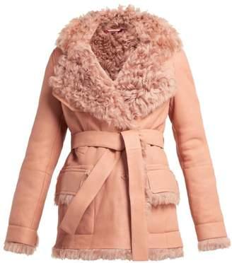 Sies Marjan Rudy Belted Shearling Coat - Womens - Pink