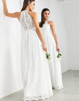 ASOS EDITION lace halter neck maxi wedding dress