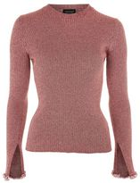Topshop Flute frill sleeve knitted top