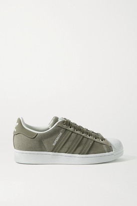 adidas Superstar Rubber-trimmed Canvas Sneakers - Army green