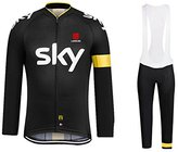 Yianerm men's long sleeve cycling jersey and tight bib pant set comfortable breathable for outdoor riding