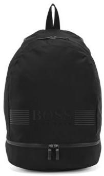 HUGO BOSS Backpack In Structured Nylon With Logo Artwork - Black