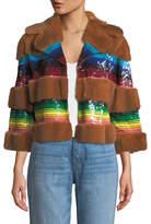 Valentino Mink Fur Sequined Bolero Jacket