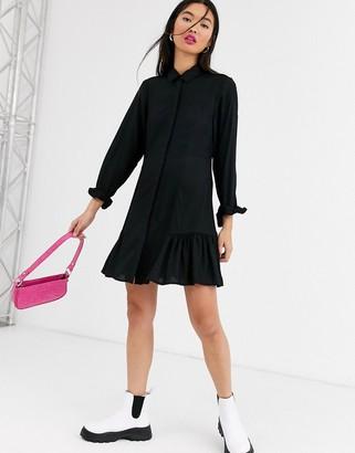 Monki mini shirt dress with long sleeve in black